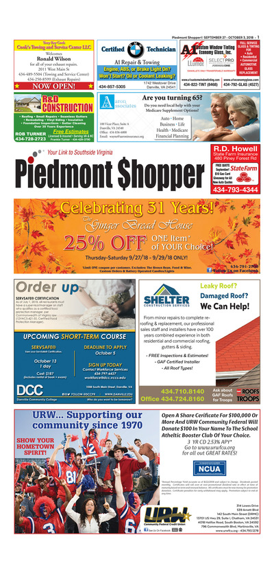 Piedmont Shopper - Sep 27, 2018