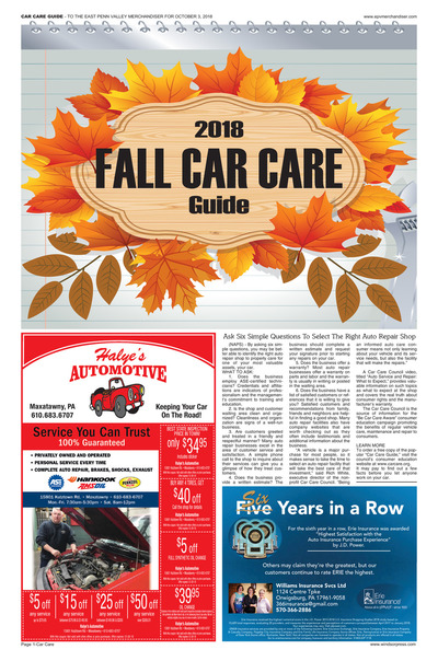 East Penn Valley Merchandiser - Fall Car Care - 2018