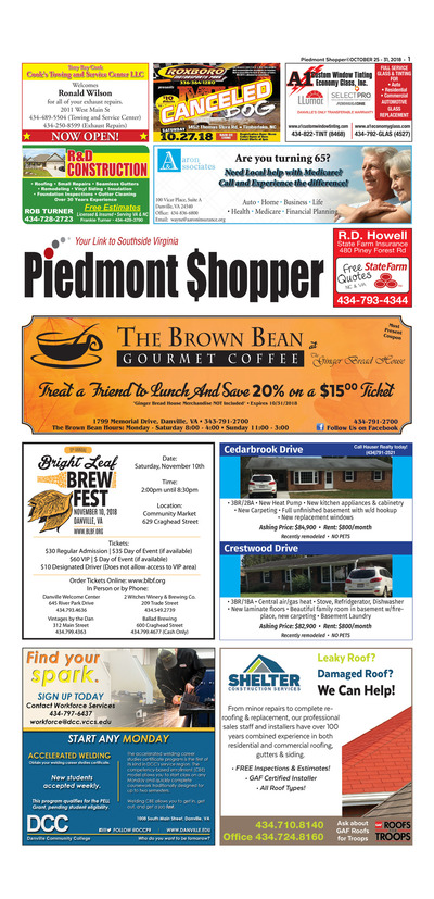 Piedmont Shopper - Oct 25, 2018